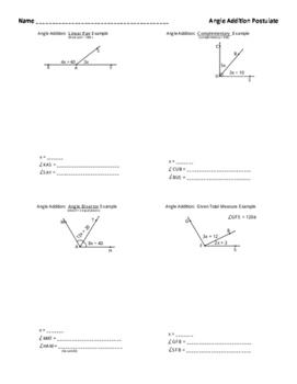Angle Addition Postulate Notes