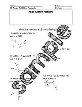 Angle Addition and Angle Bisectors Guided Notes