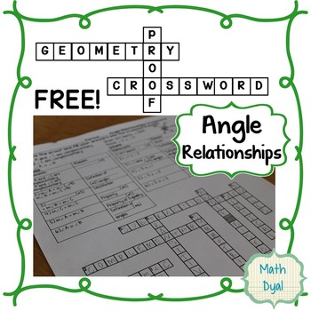 Angle Relationships Geometry Proofs Crossword Puzzle