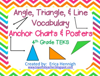 Angle, Triangle, & Line Vocabulary Anchor Charts & Foldabl