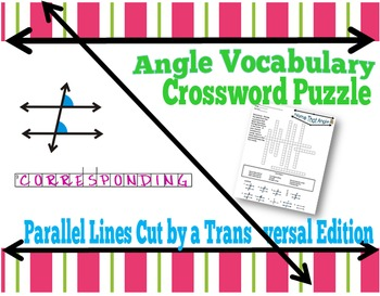 Angle Vocabulary Crossword Puzzle:  Parallel Lines And Tra