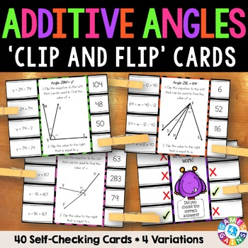 Additive Angles Activity: 40 Additive Angles Task Cards (4.MD.7)