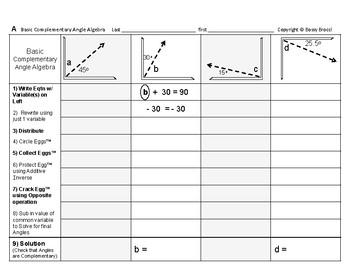 Angles Algebra 01: Solving Basic Complementary & Supplemen