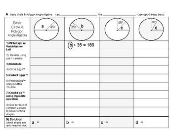 Angles Algebra 04: Solving Basic Circle & Polygon Angles