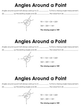 Angles Around a Point Guided Notes