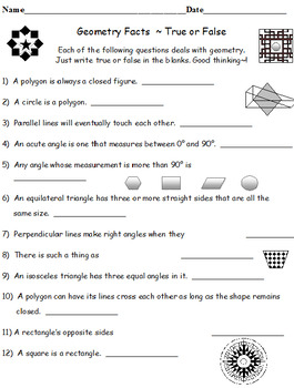 Angles, Degrees and Measurement PLUS Geometry Facts True o