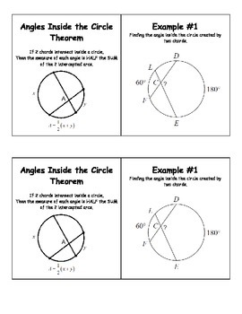 Angles Inside the Circle Theorem Class Notes