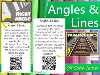 Angles & Lines Task Cards with QR Codes {Self-checking Mat
