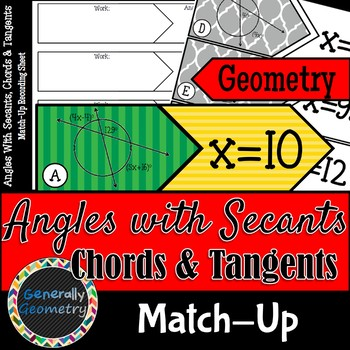 Angles With Secants, Chords & Tangents Match-Up; Geometry,