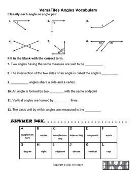 Angles and Angle Pairs Vocabulary for VersaTiles