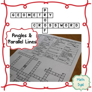 Angles and Parallel Lines Geometry Proofs Crossword Puzzle