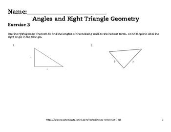 Angles and Right Triangle Geometry Lesson 3 of 6 Pythagore