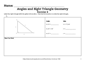 Angles and Right Triangle Geometry Lesson 6 of 6 Using Tri