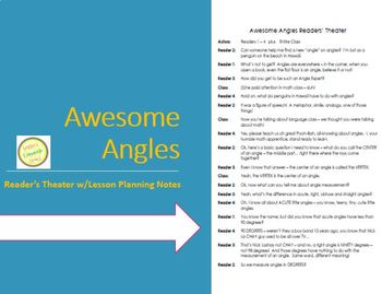 Angles are Awesome - Reader's Theater - Complete Vocabular