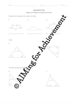 Angles in Triangles & Equation of Circle Test