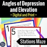 Angles of Depression and Elevation Trig Stations Maze Activity