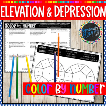 Angles of Elevation and Depression Color by Number; Right