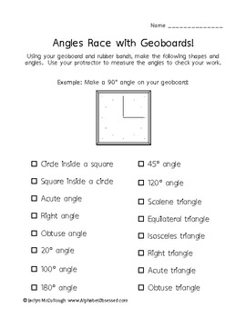 Angles/Triangles Race with Geoboards! Fun! Aligned with Co