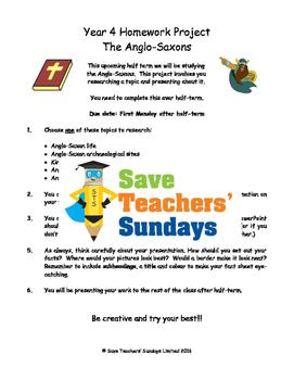 Anglo-Saxons homework project & presentation Lesson plan &