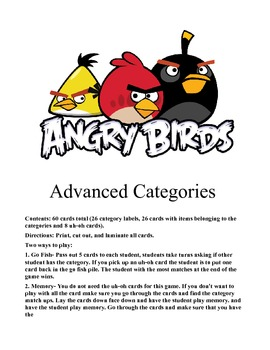 Angry Bird Advanced Categories