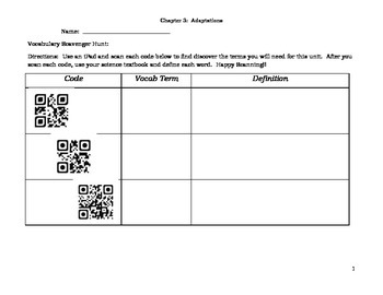 Animal Adaptations- Chapter 3 with QR codes