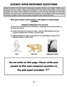 Animal Adaptations Open Response Question