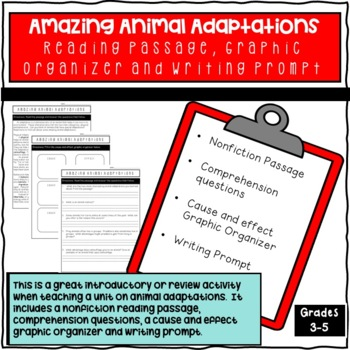 Animal Adaptations Reading Passage, Graphic Organizer and