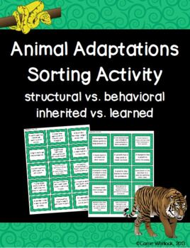 Animal Adaptations: Sort and Writing Activity