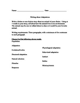 Animal Adaptations vocab writing