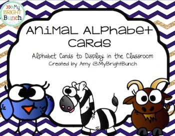 Animal Alphabet Cards, Navy and Gold