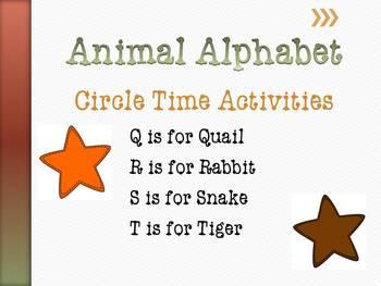Animal Alphabet Circle Time Games & Activities Q - T