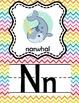 Animal Alphabet Line *Fun Chevron Background