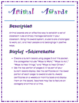 Animal Award System