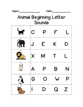 Animal Beginning Letter Sounds