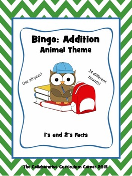 Animal Bingo: Addition Facts for 1's and 2's
