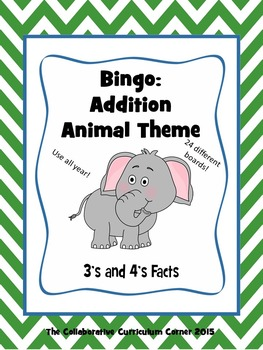 Animal Bingo: Addition Facts for 3's and 4's