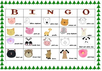 Animal Bingo and Riddle game board ready to print