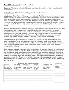 Animal Classification Lesson Plan