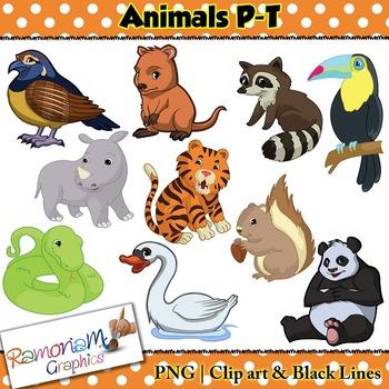 Animals Clip art Letters P-T