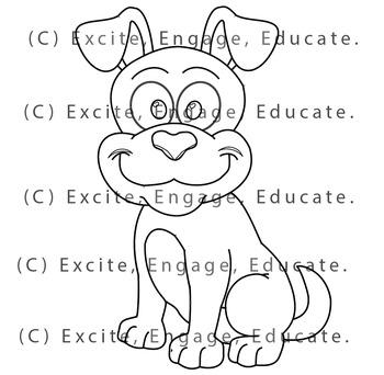 Animal Clipart [Line Art] - Cartoon Puppy Dog