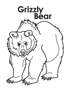 Animal Coloring Page: Grizzly Bear