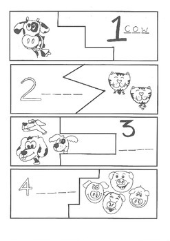 Animal Counting Paper Puzzle
