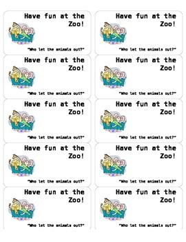 **FREEBIE** Animal Cracker Snack Label