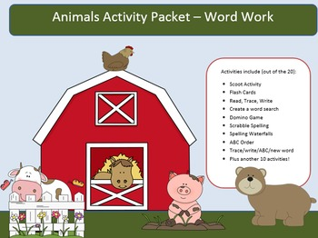 Animal Dolch Word Work Packet – 10 words, no prep spelling