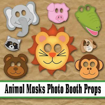 Animal Face Masks Photo Booth Props - Printable