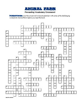 Animal Farm: 50-word Prereading Crossword—Use with Bookmar
