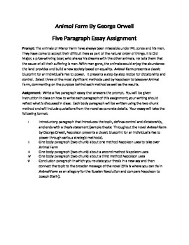 Animal Farm By George Orwell Academic Essay Assignment and Plan