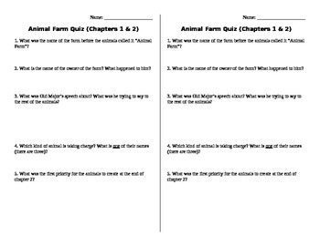 Animal Farm Quiz and Discussion Prompts Comprehension & An