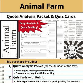 Animal Farm - Quote Analysis & Reading Quizzes