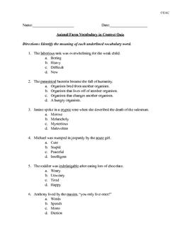 Animal Farm Vocabulary Review